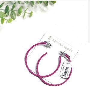 Kendra Scott Val Pink Hoop Crystal Matte Earrings